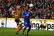 Hull City defender Ondrej Mazuch (3) and Cardiff City midfielder Junior Hoilett (33) battles for possession during the EFL Sky Bet Championship match between Hull City and Cardiff City at the KCOM Stadium, Kingston upon Hull, England on 28 April 2018. Picture by Mick Atkins.