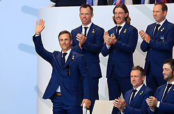 Team Europe's Thorbjorn Olesen is introduced during the opening ceremony of the Ryder Cup at Le Golf National, Saint-Quentin-en-Yvelines, Paris