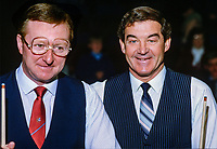 Dennis Taylor, N Ireland, professional snooker player, left, and Eddie Charlton, Australia, Irish Masters, Goffs, Rep of Ireland, 198503000032b..Copyright Image from Victor Patterson, 54 Dorchester Park, Belfast, UK, BT9 6RJ..Tel: +44 28 9066 1296.Mob: +44 7802 353836.Voicemail +44 20 8816 7153.Skype: victorpattersonbelfast.Email: victorpatterson@mac.com.Email: victorpatterson@ireland.com (back-up)..IMPORTANT: If you wish to use this image or any other of my images please go to www.victorpatterson.com and click on the Terms & Conditions. Then contact me by email or phone with the reference number(s) of the image(s) concerned.