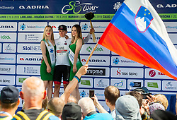 Tadej Pogacar (SLO) of UAE Team Emirates celebrates in white jersey as best young rider at Trophy ceremony after the 3rd Stage of 26th Tour of Slovenia 2019 cycling race between Zalec and Idrija (169,8 km), on June 21, 2019 in Slovenia. Photo by Vid Ponikvar / Sportida