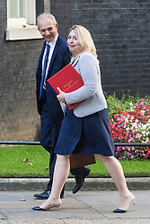 Downing Street, London, September 13th 2016. Secretary of State for Culture, Media and Sport Karen Bradley and Leader of the House of Commons David Lidington arrive for the weekly cabinet meeting at Downing Street.