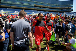 ANN ARBOR, USA - Friday, July 27, 2018: Liverpool's Virgil van Dijk and Joe Gomez during a training session ahead of the preseason International Champions Cup match between Manchester United FC and Liverpool FC at the Michigan Stadium. (Pic by David Rawcliffe/Propaganda)
