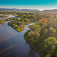 The Jefferson River flows between cottonwood forests near Three Forks, Montana, where it joins the Madison and Gallatin Rivers to become the Missouri.