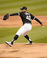 CHICAGO - MAY 03:  Reynaldo Lopez #40 of the Chicago White Sox pitches against the Boston Red Sox on May 3, 2019 at Guaranteed Rate Field in Chicago, Illinois.  (Photo by Ron Vesely)  Subject:  Reynaldo Lopez