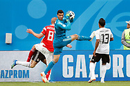 Egypt Mohamed Elshenawy (C) with Russia Iury Gazinsky (L) and Russia Fedor Kudriashov (R) during the 2018 FIFA World Cup Russia, Group A football match between Russia and Egypt on June 19, 2018 at Saint Petersburg Stadium in Saint Petersburg, Russia - Photo Stanley Gontha / Pro Shots / ProSportsImages / DPPI