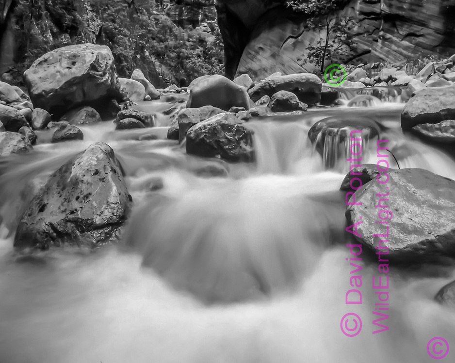 Water of the North Fork of the Virgin River cascades through boulder field, © David A. Ponton
