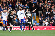 Craig Morgan of Wigan Athletic celebrates after scoring his teams 2nd goal. Skybet football league one match , Bury v Wigan Athletic at the JD Stadium in Bury, Lancs on Saturday 10th October 2015.<br /> pic by Chris Stading, Andrew Orchard sports photography.