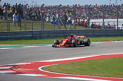 October 21, 2018 - Austin, TX, U.S. - AUSTIN, TX - OCTOBER 21: Ferrari driver Kimi Raikkonen (7) of Finland enters a turn during the F1 United States Grand Prix on October 21, 2018, at Circuit of the Americas in Austin, TX. (Photo by Ken Murray/Icon Sportswire) (Credit Image: © Ken Murray/Icon SMI via ZUMA Press)