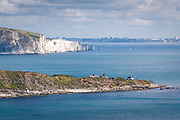 View of Peveril Point and Old Harry Rocks from Durlston Head near Swanage, Dorset, UK