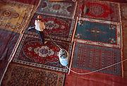 TURKEY, ISTANBUL, OTTOMAN Blue Mosque; sweeping prayer rugs