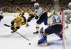 May 2, 2017 - Nashville, TN, USA - The Nashville Predators' James Neal, left, tries to score against St. Louis Blues goaltender Jake Allen in the third period during Game 4 of the Western Conference semifinals on Tuesday, May 2, 2017, at the Bridgestone Arena in Nashville, Tenn. The Predators won, 2-1, for a 3-1 series lead. (Credit Image: © Chris Lee/TNS via ZUMA Wire)