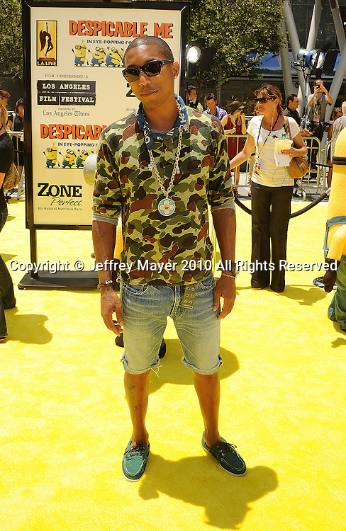 """LOS ANGELES, CA. - June 27: Pharrell Williams arrives at the 2010 Los Angeles Film Festival - """"Despicable Me"""" Premiere on June 27, 2010 in Los Angeles, California."""