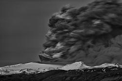 Volcanic eruption, Eyjafjallajokull, Iceland.