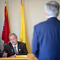 021814  Adron Gardner/Independent<br /> <br /> County Commissioner Tony Tanner questions  RMCH CEO Barry Mousa, during the County Commission meeting at the McKinley County Courthouse in Gallup Tuesday.