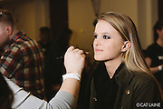 PROVIDENCE, RI - FEB 13: Model Sarah Wilson in the makeup chair prior to the Alistair Archer show at StyleWeek NorthEast on February 13, 2015 in Providence, RI. (Photo by Cat Laine)