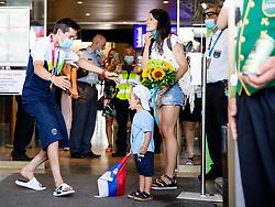 Primoz Roglic, Olympic gold medalist with his family during his arrival from Tokyo 2020 on July 30, 2021 in Airport Joze Pucnik, Brnik, Ljubljana, Slovenia. Photo by Matic Klansek Velej / Sportida