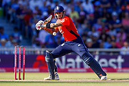 England T20 batsman Alex Hales plays square for no run  during the International T20 match between England and India at Old Trafford, Manchester, England on 3 July 2018. Picture by Simon Davies.