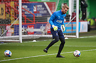 AFC Wimbledon goalkeeper Connal Trueman (1) warming up prior to kick off during the EFL Sky Bet League 1 match between Charlton Athletic and AFC Wimbledon at The Valley, London, England on 12 December 2020.