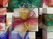boxes gift wrapped for the Christmas holidays