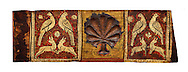 Gothic decorative painted beam panels with doves, hares and a carved syalise tree, Tempera on wood. National Museum of Catalan Art (MNAC), Barcelona, Spain .<br /> <br /> If you prefer you can also buy from our ALAMY PHOTO LIBRARY  Collection visit : https://www.alamy.com/portfolio/paul-williams-funkystock/romanesque-art-antiquities.html<br /> Type -     MNAC     - into the LOWER SEARCH WITHIN GALLERY box. Refine search by adding background colour, place, subject etc<br /> <br /> Visit our ROMANESQUE ART PHOTO COLLECTION for more   photos  to download or buy as prints https://funkystock.photoshelter.com/gallery-collection/Medieval-Romanesque-Art-Antiquities-Historic-Sites-Pictures-Images-of/C0000uYGQT94tY_Y
