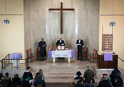 8 December 2019, Madrid, Spain: Rev. Alfredo Abad of the Spanish Evangelical Church (centre) hosts Christians from around the globe in gathering with local congregants in the Iglesia de Jesús in central Madrid, to celebrate an ecumenical prayer service during COP25.