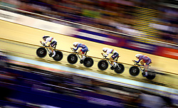 Great Britain Men Team Pursuit in qualifying during day one of the 2018 European Championships at the Sir Chris Hoy Velodrome, Glasgow. PRESS ASSOCIATION Photo. Picture date: Thursday August 2, 2018. See PA story SPORT European. Photo credit should read: John Walton/PA Wire. RESTRICTIONS: Editorial use only, no commercial use without prior permissionduring day one of the 2018 European Championships at the Sir Chris Hoy Velodrome, Glasgow. PRESS ASSOCIATION Photo. Picture date: Thursday August 2, 2018. See PA story SPORT European. Photo credit should read: John Walton/PA Wire. RESTRICTIONS: Editorial use only, no commercial use without prior permission