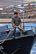 Lake Baikal, Pribaikalsky National park. Fisherman at village of Tutai.