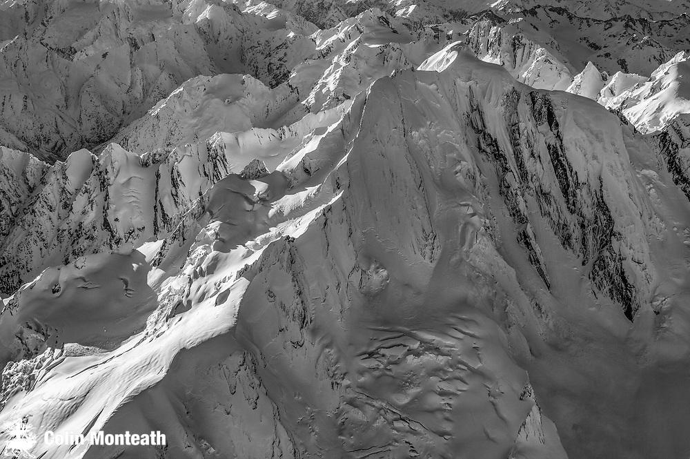 Mt Elie de Beaumont, winter aerial view over Spencer face, Southern Alps, Aoraki / Mount Cook National Park & Westland Tai Poutini National Park