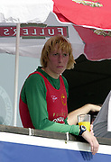 Putney to Mortlake, Thames World Sculling Challenge<br /> <br /> Photo Peter Spurrier<br /> 29/03/2002<br /> 2002 Thames World Sculling Challenge<br /> Ekaterina Karsten watch's the closing stages of the men's race.