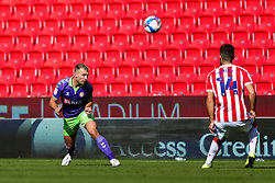 Andreas Weimann of Bristol City is challenged by Joe Allen of Stoke City - Rogan/JMP - 20/09/2020 - Bet365 Stadium - Stoke, England - Stoke City v Bristol City - Sky Bet Championship.