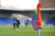 Rainbow corner flag a during the EFL Sky Bet League 1 match between AFC Wimbledon and Bristol Rovers at Plough Lane, London, United Kingdom on 5 December 2020.