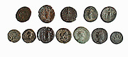 12 bronze Roman city coins