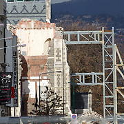 The remains of Christchurch Cathedral Christchurch,, propped up by supports after the February Christchurch earthquake. Christchurch, New Zealand, 8th June 2011. Photo Tim Clayton.