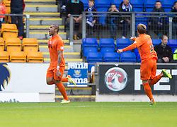 Kilmarock's Josh Magennis scoring their second goal.<br /> Half time : St Johnstone 1 v 2 Kilmarock, SPL game played at McDrarmid Park.
