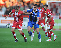 Football - 2021 / 2022 EFL Carabao Cup - Round One - Crawley Town vs Gillingham - The People's Pension Stadium - Tuesday, 10th August 2021<br /> <br /> Jake Hessebthaler of Crawley and Ollie Lee of Gillingham<br /> <br /> Credit : COLORSPORT/Andrew Cowie