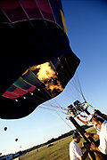 Hot air balloon being prepared for lift off