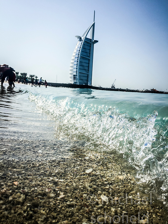The Burj al Arab hotel. Images from the MSC Musica cruise to the Persian Gulf, visiting Abu Dhabi, Khor al Fakkan, Khasab, Muscat, and Dubai, traveling from 13/12/2015 to 20/12/2015.