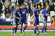Birmingham City striker Lukas Jutkiewicz (15) scores a goal 1-0 and celebrates during the EFL Sky Bet Championship match between Birmingham City and Brighton and Hove Albion at St Andrews, Birmingham, England on 17 December 2016.