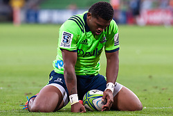 March 1, 2019 - Victoria, VIC, U.S. - MELBOURNE, AUSTRALIA - MARCH 01: Waisake Naholo (14) of the Highlanders dejected after his try is nulled at The Super Rugby match between Melbourne Rebels and Highlanders on March 01, 2019 at AAMI Park, VIC. (Photo by Speed Media/Icon Sportswire) (Credit Image: © Speed Media/Icon SMI via ZUMA Press)