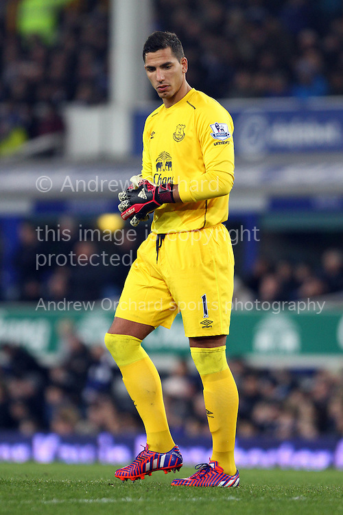 Everton Goalkeeper Joel Robles looks on. Barclays Premier league match, Everton v Liverpool at Goodison Park in Liverpool, Merseyside on Saturday 7th February 2015<br /> pic by Chris Stading, Andrew Orchard sports photography.