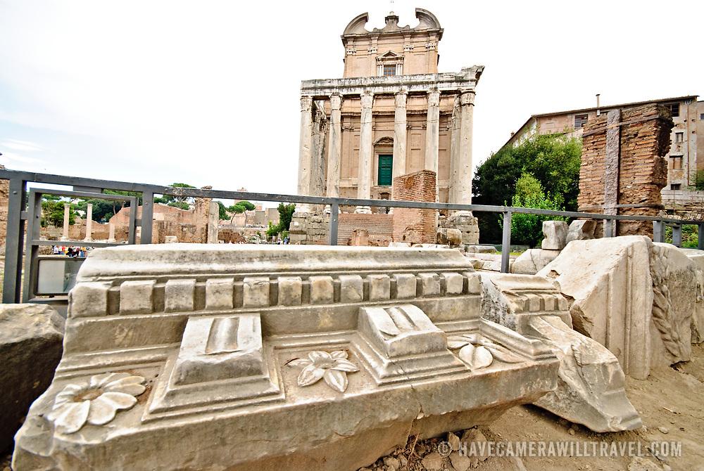 ROME, Italy - Roman ruins on the Foro Romano in Rome, Italy.
