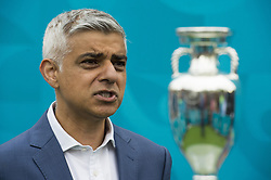 Mayor of London Sadiq Khan with the Henri Delaunay Cup, outside King's Cross Station, which made a special visit to London today as part of the UEFA EURO 2020 Trophy Tour. Issue date: Friday June 4, 2021.