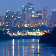 Panorama photo of downtown Kansas City, Missouri skyline, taken from Chouteau Bridge.