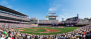 [Note:  This panorama was stitched from multiple photos during post-processing] Panorama during the national anthem on Armed Services Appreciation Day at Target Field in Minneapolis, Minnesota on July 3, 2011.  This was before the game between the Minnesota Twins and Milwaukee Brewers.