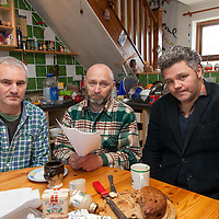 Residents of Abbey West, Bellharbour Johnny White, Brian Flemming, & Jim McKee reading their eviction notice