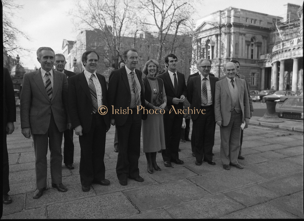 Clement Coughlan New Fianna Fáil TD.  (N50)..1989..11.11.1980..11th November 1980..The new Fianna Fáil TD for Donegal, Mr Clement Coughlan TD took his seat at Dáil Éireann, Leinster House today..Image shows Mr Clement Coughlan TD accompanied by his wife Peggy and his supporters as he arrives at Dáil Éireann to to take up his seat.
