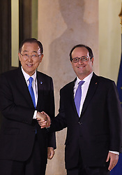 French President Francois Hollande receives outgoing UN Secretary-General Ban Ki-moon for talks at the Elysee Palace in Paris, France on November 17, 2016. Photo by Christian Liewig/ABACAPRESS.COM