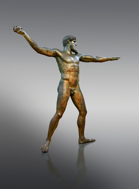 Early classical ancient Greek bronze statue of Zeus or Poseidon, circa 450 BC. Athens National Arcjaeological Museum, cat no X15161. Grey background.<br /> <br /> This bronze statue was found in the sea off Cape Artemision in northern Euobea. Zeus or Poseidon is shown making a great stride. His lefy arm is extended forward and his righy arm extends back which would have held a thunderbolt, if Zeus, or a trident if Poseidon. The identification of the statue is controversial though it ios more likely Zeus. <br /> <br /> It is one of the few preserved original statues of Severe Style, notable for the exuisite rendering of motion and anatomy. Iy is certainly the work of a great sculptor of the early ancient Greek Classical period .<br /> <br /> If you prefer to buy from our ALAMY STOCK LIBRARY page at https://www.alamy.com/portfolio/paul-williams-funkystock/greco-roman-sculptures.html . Type -    Athens    - into LOWER SEARCH WITHIN GALLERY box - Refine search by adding a subject, place, background colour, etc.<br /> <br /> Visit our ROMAN WORLD PHOTO COLLECTIONS for more photos to download or buy as wall art prints https://funkystock.photoshelter.com/gallery-collection/The-Romans-Art-Artefacts-Antiquities-Historic-Sites-Pictures-Images/C0000r2uLJJo9_s0
