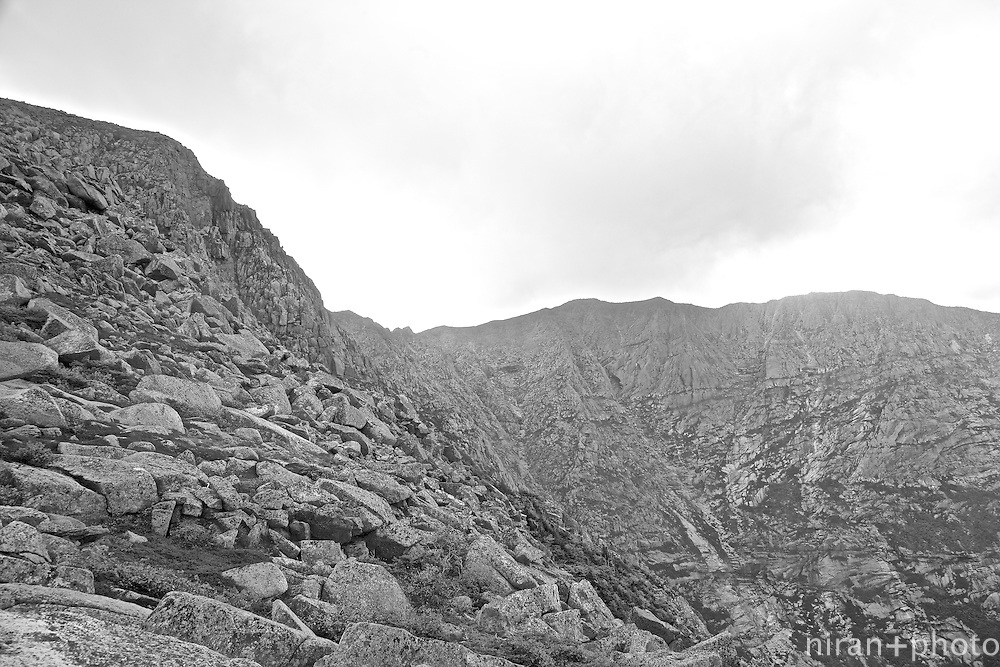 Looking up at Knife Edge. It's about almost 2 hours before taking that on.