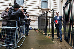 © Licensed to London News Pictures. 08/03/2017. London, UK. Chief Secretary to the Treasury David Gauke arrives on Downing Street for Cabinet. The government will unveil the budget today. Photo credit: Rob Pinney/LNP